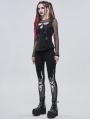 Black Gothic Punk Patterned Slim Fit Long Leggings for Women