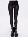 Black Gothic Punk Slim Long Pants for Women