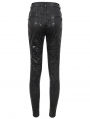 Black Gothic Punk Patterned Daily Wear Long Pants for Women