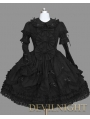 Black Long Sleeves Lace Ribbon Bow Gothic Lolita Dress