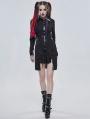 Black Gothic Punk Metal Long Sleeve Dress Shirt for Women