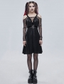 Black Sexy Gothic Punk Pentagram Off-the-Shoulder Long Sleeve Dress