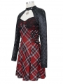 Black and Red Plaid Gothic Punk Daily Wear Long Sleeve Short Dress