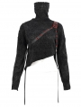 Black Gothic Punk High Collar Short Sweater for Women