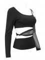 Black Sexy Gothic Punk Off-the-Shoulder Long Sleeve Short T-Shirt for Women