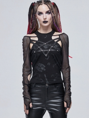 Black Sexy Gothic Punk Hollow Out Pentagram Long Sleeves T-Shirt for Women