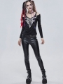 Black Gothic Punk Patterned Off-the-Shoulder Long Sleeve T-Shirt for Women