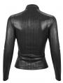 Black Gothic Punk Pentagram Long Sleeve Buckle Belt T-Shirt for Women