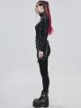 Black Gothic Punk High Collar Long Sleeve Asymmetrical T-Shirt for for Women
