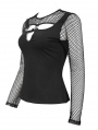 Black Gothic Punk Hollow-Out Long Sleeve T-Shirt for Women