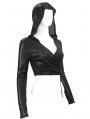 Black Sexy Gothic V-Neck Long Sleeve Hooded Short T-Shirt for Women