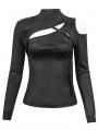 Black Sexy Gothic Punk Hollow-out Long Sleeve T-Shirt for Women
