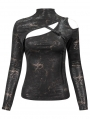 Sexy Gothic Punk Hollow-out Long Sleeve T-Shirt for Women