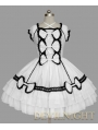 White and Black Lace Cap Sleeves Halter Sweet Bow Gothic Lolita Dress