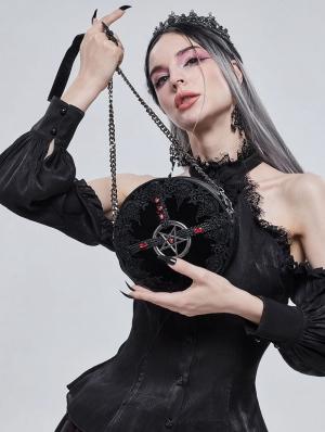 Black Gothic Lace Pentagram Round Chain Shoulder Bag