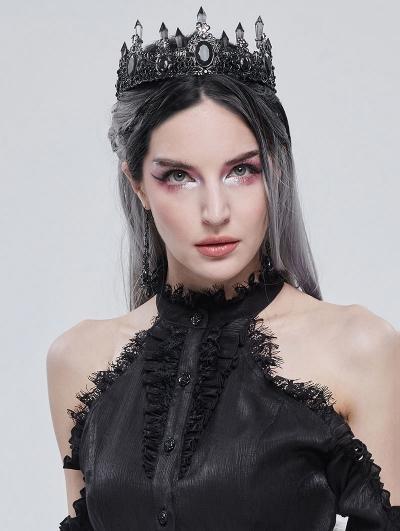 Black Gothic Retro Dark Queen Style Crown Headdress