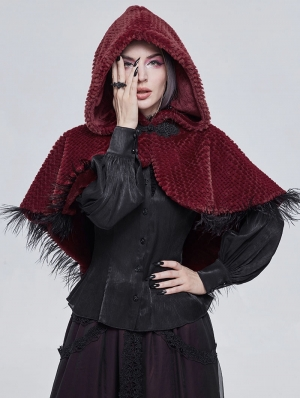 Red Gothic Feather Hooded Short Cape for Women