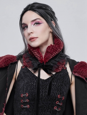 Black and Red Gothic Faux Fur Warm Collar for Women