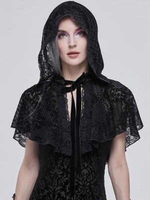 Black Retro Gothic Short Hooded Cape for Women