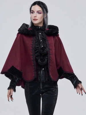 Black and Red Retro Gothic Short Hooded Cloak for Women