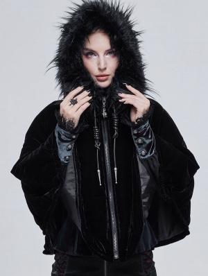 Black Gothic Faux Fur Winter Warm Hooded Short Cape Coat for Women
