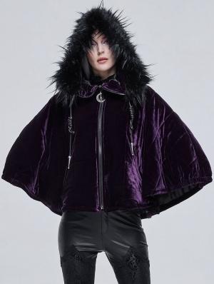 Purple Gothic Faux Fur Winter Warm Hooded Short Cape Coat for Women