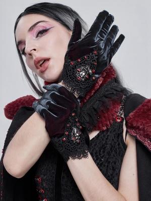 Retro Gothic Elegant Velvet Lace Gloves for Women