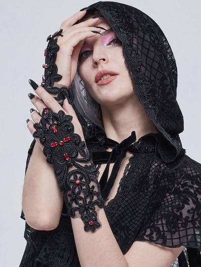 Black Romantic Gothic Lace Gloves for Women