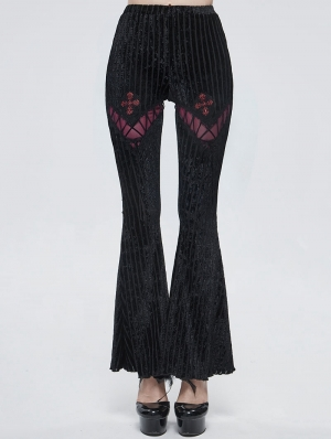 Black and Red Gothic Striped Long Flared Pants for Women