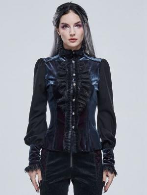 Blue Retro Gothic Velvet Long Sleeve Blouse for Women