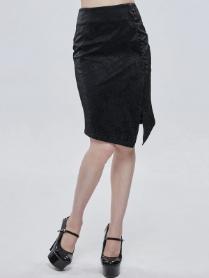 Black Elegant Gothic Jacquard Irregular Short Skirt
