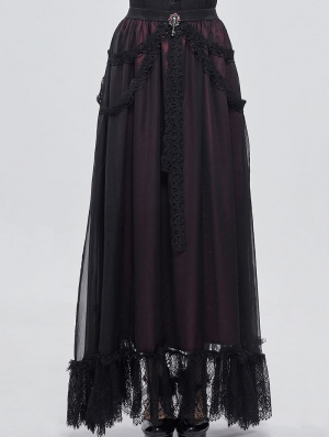 Black and Red Vintage Gothic Long Prom Party Skirt
