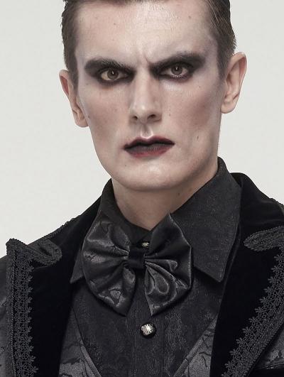 Black Gothic Retro Jacquard Bowtie for Men