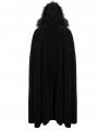 Black Gothic Winter Warm Long Hooded Faux Fur Cloak for Men