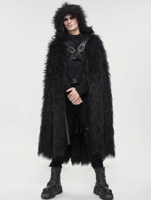 Black Gothic Punk Winter Warm Faux Fur Long Hooded Cape for Men