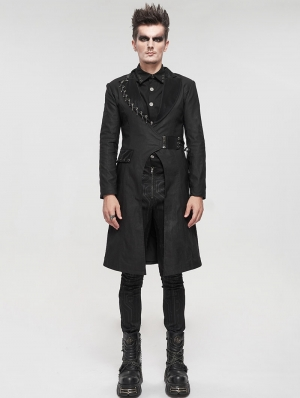 Black Gothic Punk Mid-Length Coat for Men
