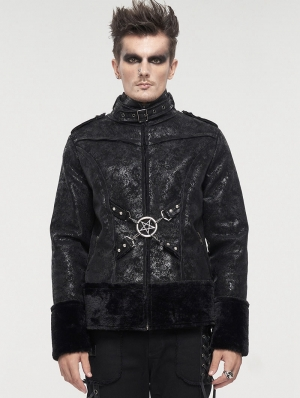 Black Gothic Punk Do Old Style Daily Wear Short Jacket for Men