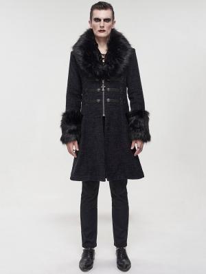 Black Vintage Gothic Faux Fur Mid Length Winter Warm Coat for Men