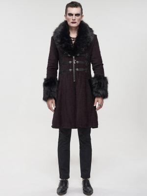 Red Vintage Gothic Faux Fur Mid Length Winter Warm Coat for Men