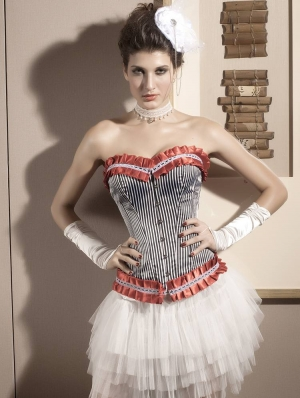 Stripes Overbust Burlesque Corset
