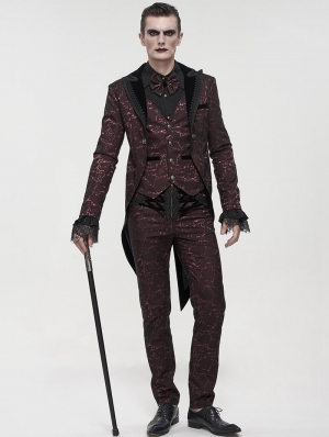 Red Vintage Gothic Faux Two Pieces Party Swallow Tail Coat for Men