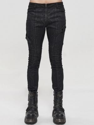 Black Gothic Punk Patterned Long Slim Trousers for Men