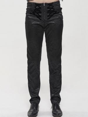 Black Vintage Gothic Jacquard Party Long Straight Fit Pants for Men