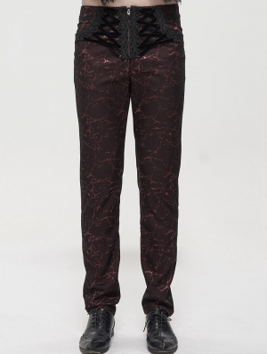 Red Vintage Gothic Jacquard Party Long Straight Fit Pants for Men
