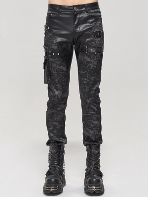 Black Men's Gothic Punk Do Old Style Long Trousers