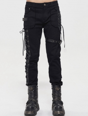Black Gothic Punk Daily Wear Straight Fitted Long Trousers for Men