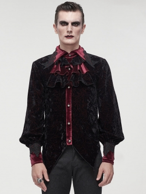 Black and Red Gothic Retro Palace Style Tailed Bowtie Blouse for Men