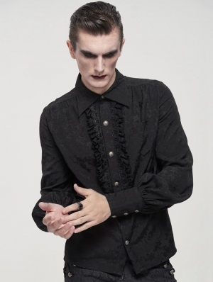 Black Gothic Retro Jacquard Long Lantern Sleeve Shirt for Men