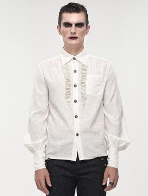 White Gothic Retro Jacquard Long Lantern Sleeve Shirt for Men