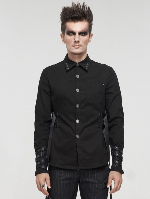 Black Gothic Punk Daily Wear Long Sleeve Shirt for Men